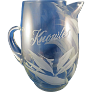 """Vintage Large Etched Pitcher with Family Name """"Knowles"""" Monogram & Floral Design"""