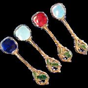 Gilt & Enamel Salt Spoons, Set of 4