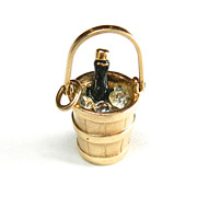 Vintage 14K Champagne in Ice Bucket Charm with simulated Diamonds