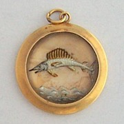 Vintage 14K Gold Sailfish Charm ~ Reverse Painting on Crystal