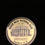 1920's Celluloid Pocket Dime Bank- Indian Head National Bank- Nashua, NH
