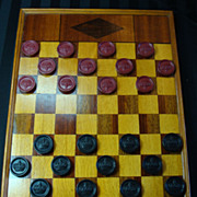 Vintage Wooden Inlaid Checker Board