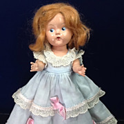 "Vintage Painted Eye Hard Plastic 8"" Vogue Ginny Doll with Mohair Wig"