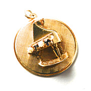 Vintage 14K Piano on a Disc Charm with Blue Stones and Simulated Pearls