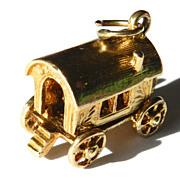 Vintage 9K Gypsy Wagon Charm-Moveable