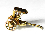Vintage 14K Chinese Rickshaw Charm-Moveable