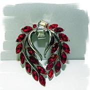 Crown Trifari Red Rhinestone Laurel Wreath Brooch