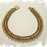 Reinad Faux Pearl Collar Necklace and Bracelet Set Rare!