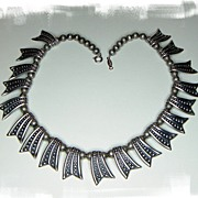 Napier Ornate Silver Plate Link Choker/Collar Necklace