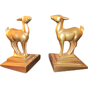 SOLD Art Deco Signed Frankart Fawn/Deer Bronze Bookends