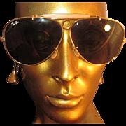 Vintage B&L Ray-Ban USA 2 7/16 inch Aviator Sunglasses Eyeglasses 1960s Gold ...