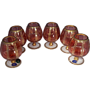 Moser Bohemian Crystal Whiskey Snifter Set of 6 Cranberry Gold Glasses