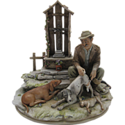 "Large Borsato Porcelain Figural Group ""Canine Casualty"", Bor 1091, Hunting Dog"