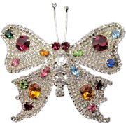 Large Pave Butterfly Brooch with Jeweled Wings