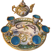Vintage Asian Cloisonne and Blue Enameled Tea set - Teapot, Teacups, Tea tray