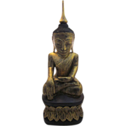 "Early 20th Century Gilt Wood and Lacquer Buddha, 27"" tall"