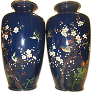 Japanese Cloisonne Pair of Vases Late Meiji