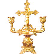 SOLD Vintage Gold Gilt Metal Candelabra with Jesus on the Crucifix and Holy water dispenser