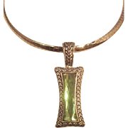 Retired Lia Sophia Necklace Gold and Silver tone chain reversible & green glass faceted pendan