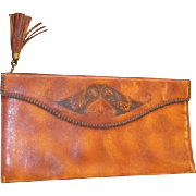 Vintage Meeker Made Embossed Leather Clutch Purse