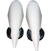 Mid Century Modern Lightolier Sconces Chrome w/ Cased & Ribbed Glass Slip Shades