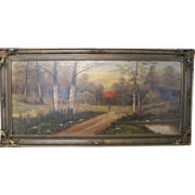 Framed Oil on Board Painting, Landscape with Figure, c. 1920's, Artist Unknown
