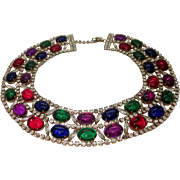 SALE Vintage Collar Bib Necklace Jewel Tone Cabs and Icy Navette Rhinestones