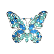 Large Vintage Butterfly Brooch Bursting with Color