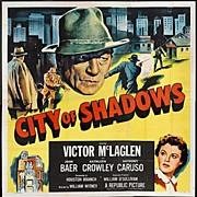 """Enormous Original Movie Poster """"CITY OF SHADOWS"""" 6sh  81""""x81"""""""