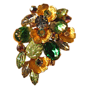 Large Vintage Poured Molded Glass Brooch...Stunning!