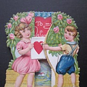 Vintage Fold Out Valentine With Sweet Boy and Girl