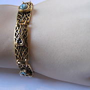 Goldette Victorian Revival Linked Panel Bracelet
