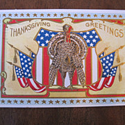 Antique 1909 Patriotic Thanksgiving Postcard