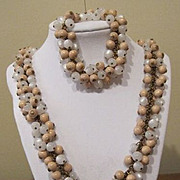 SALE Vintage Miriam Haskell  Mother of Pearl Look and Wood Beaded Necklace Bracelet Set