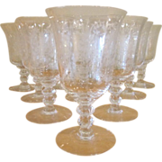 Vintage Heisey Glass Orchid Water Goblets 6 inches high