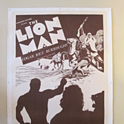 "1930's Art Deco Movie Poster ""Lion Man"" 1sheet Linen backed"