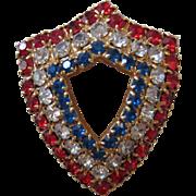 Vintage Patriotic Red White & Blue Shield Pin Brooch