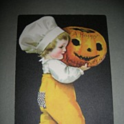 Rare Halloween postcard Wolf & Co.  Ellen Clapsaddle Child with JOL