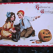 Frances Brundage Halloween Postcard with kids, JOL and Black Cat