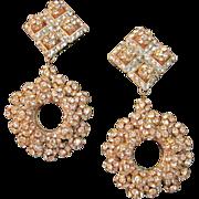 Bridal Runway Large Rhinestone Pave Earrings