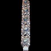 SALE Vintage Schiaparelli Blue Icy Iridescent Lava Stone & Simulated Pearl Bracelet