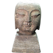 "SOLD Stone Buddha Head Statue with Square Base, measures 5"" tall"