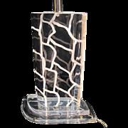 Vintage, Signed Van Teal Lucite Giraffe Patterned Lamp