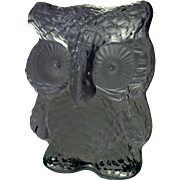 Vintage Clear Viking Art Glass Owl Paperweight Bookend