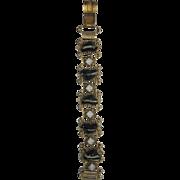 Vintage Faux Banded Agate and Faux Opal Bracelet - Gold Tone Metal