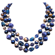 Vintage Triple strand Necklace purple and blue art beads c. 1950
