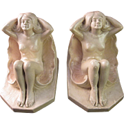 Art Deco Nude in Clamshell Pair of Bookends c. 1930's