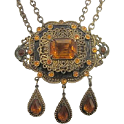 Art Deco Czechoslovakian Amber Glass Necklace Statement Necklace with Amber rhinestones, Dangl