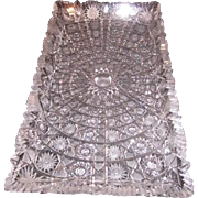 Vintage Czechoslovakian Rectangular Hand Cut 24 Lead Queen Lace Crystal Serving Tray or Platte
