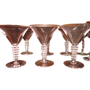 Art Deco Set of 6 Martini Glasses with Cut Crystal and Frosted Step Stems-Mint Condition!!!!